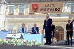 Prezident Miloš Zeman na náměstí E. Beneše v Milevsku.