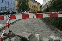 Rekonstrukce chodníku v Zahradní ulici v Prachaticích.