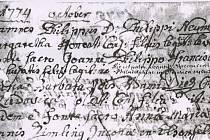 Historický záznam o narození Filipa Neumanna.