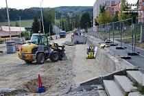 Rekonstrukce Mírové ulice ve Vimperku.