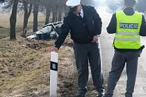 Páteční nehoda na silnici před Němčicemi