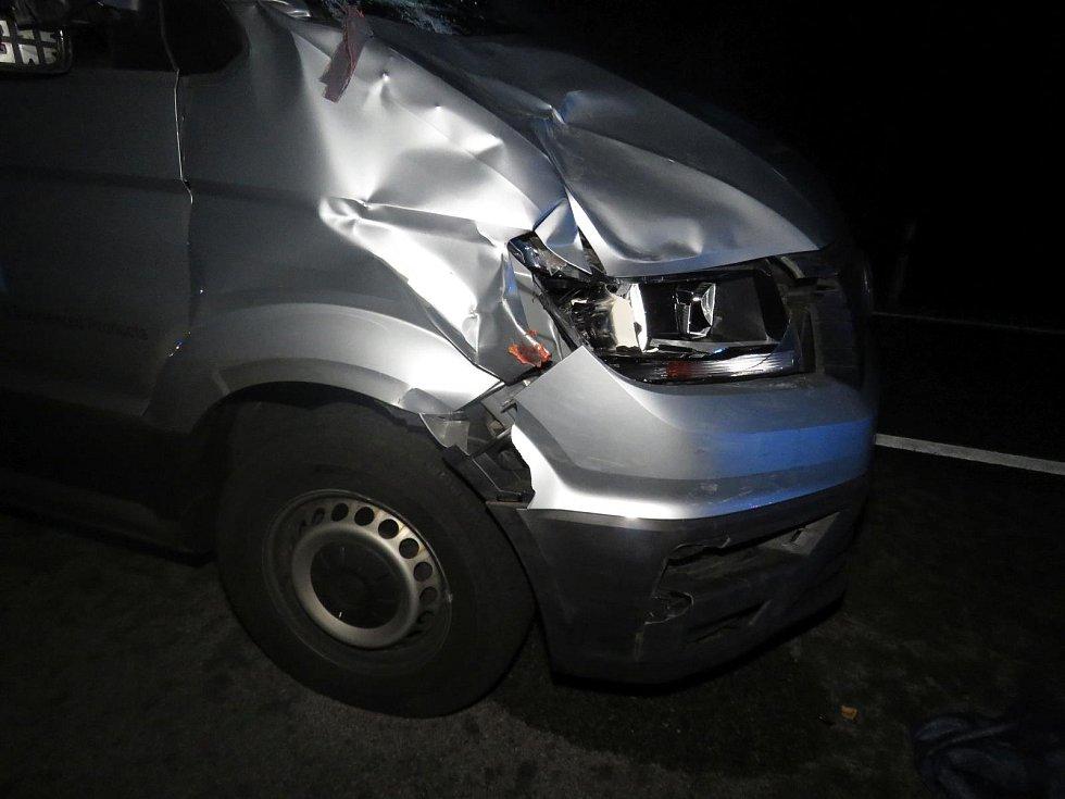 VW Crafter, který se v noci na 12. listopadu střetl s chodcem u Blažejovic.