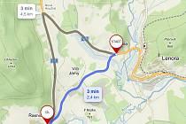 Silnice z Lenory na Strážný přes Vlčí Jámy (modrá linka na mapě) je uzavřená. Objízdná trasa je přes Novou Houžnou.