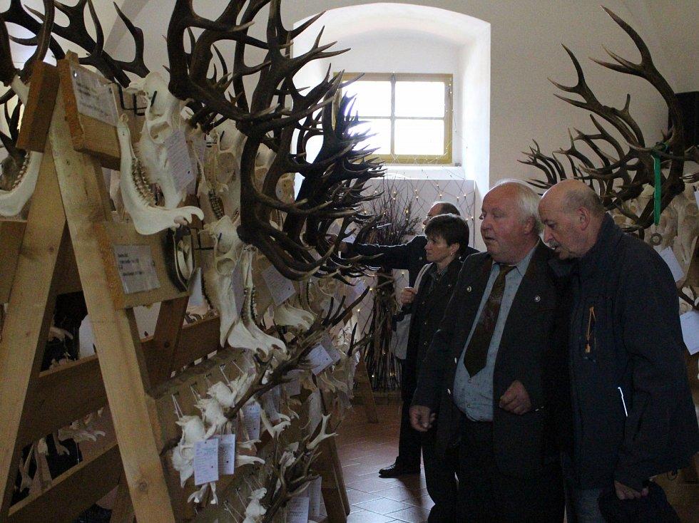Výstava mysliveckých trofejí ve Vlachově Březí.