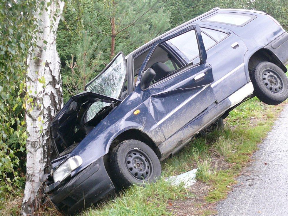 Nehoda poblíž Trhonína u Svaté Maří na Vimpersku.