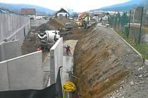Výstavba supermarketu Kaufland v Prachaticích.