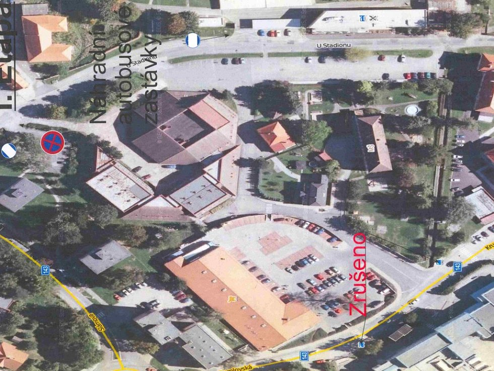 Plánek situace, po zahájení částečné uzavírky v Krumlovské ulici.
