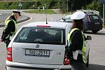 Hned ráno obsadila policejní hlídka most v Těšovicích