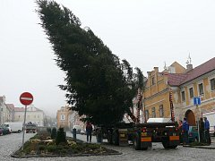 Usazování vánočního stromu na vimperském náměstí.