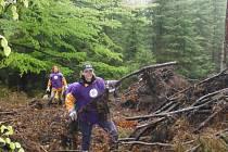 Dobrovolníci uklízejí Šumavu.