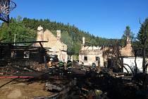 Požár rekreačního objektu u Stachů.