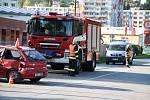 Nehoda dvou osobních vozidel v Žernovické ulici v Prachaticích.