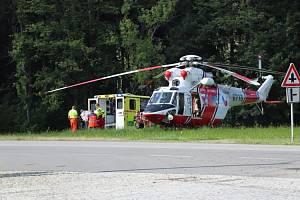 K nehodě u Vimperka letěl vrtulník