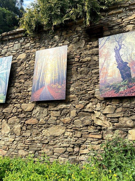 Velkoformátové fotografie Kateřiny Přibylové visí na prachatických hradbách.