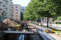 Oprava teplovodního potrubí v Prachaticích. Ilustrační foto