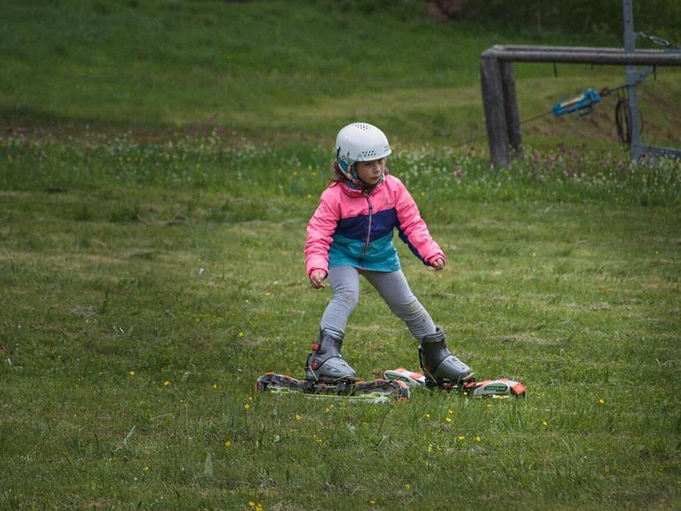 Letní lyžování v areálu Nad Kovárnou v Horní Vltavici.