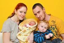 TEREZA ŠTĚPÁNKOVÁ, ČICHTICE. Narodila se ve čtvrtek 24. ledna ve 4 hodiny a 44 minut ve strakonické porodnici. Vážila 3050 gramů. Má brášku Dominika (1 rok). Rodiče: František a Marcela.