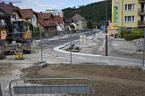 Rekonstrukce ulice 1. máje ve Vimperku.