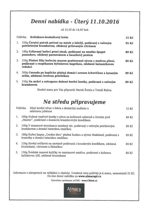 Denní nabídka - Restaurace Almara Prachatice