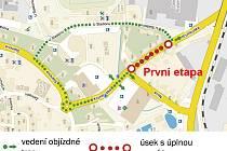 První úsek zcela uzavře Krumlovskou ulici mezi křižovatkami s ulicemi Nová a U Stadionu od 26. 10. až 1. 11.