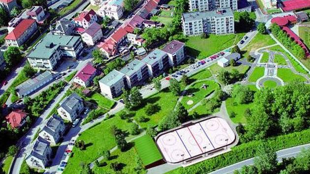 ZASAZENO DO PROSTORU. Plocha pro bruslení a hokejbal zkušebně začleněna do prostoru parku Mládí, tak jak je koncipován projekt.
