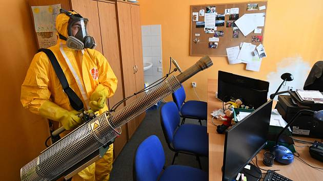 Dekontaminace prostorů v Moravskoslezském kraji.