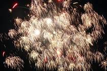 Novoroční ohňostroj v Prachaticích.
