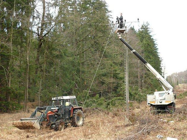I několik dní byly v některých lokalitách lidé bez dodávek elektrického proudu. Energetici opravovali poškozená vedení téměř dvacet čtyři hodin denně.