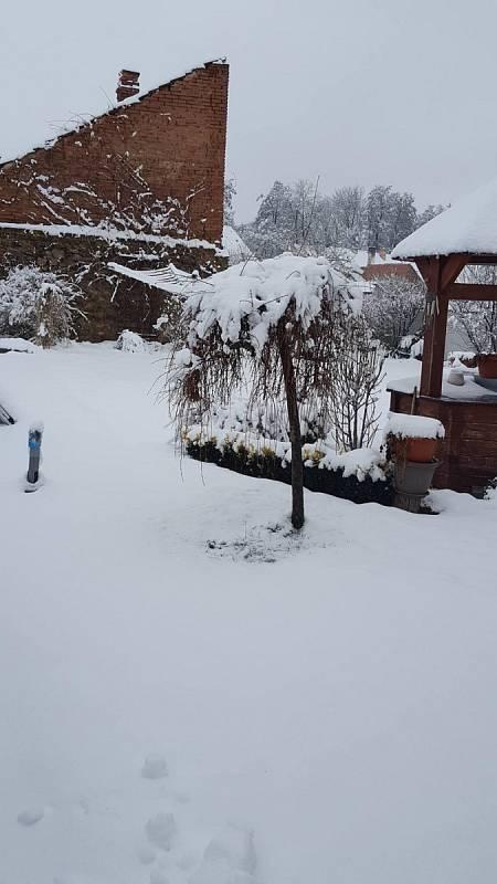 Ve Vodňanech leží 10 centimetrů sněhu a začíná slabě sněžit.