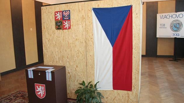 Volební místnost ve Vlachově Březí.
