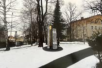 Návrh pomníku, který by měl být v polovině listopadu ve volarském parku u nádraží.