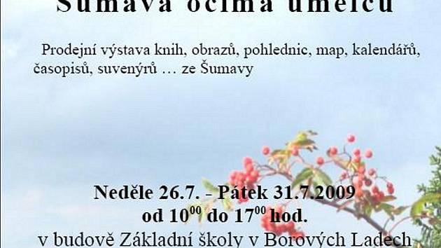 V budově Základní školy v Borových Ladech se od neděle 26. července do pátka 31. července se od 10 do 17 hodin koná prodejní výstava knih, obrazů, pohlednic, map, kalendářů, časopisů či suvenýrů ze Šumavy.