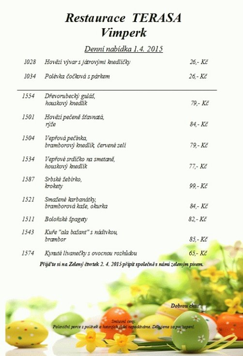 Denní nabídka - Restaurace Terasa Vimperk