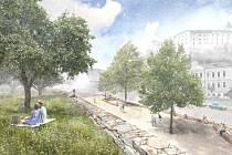 Architektonický návrh ukazuje, jak by v budoucnu mohly vypadat vimperské Pivovarské terasy. Výhled na zámek je okouzlující.