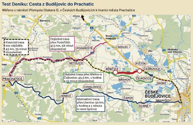 Uzavírka mezi Češnovicemi a Němčicemi znamená vydat se po některé znáhradních tras do Českých Budějovic.