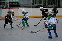 Turnaj hokejbalových přípravek v Prachaticích.