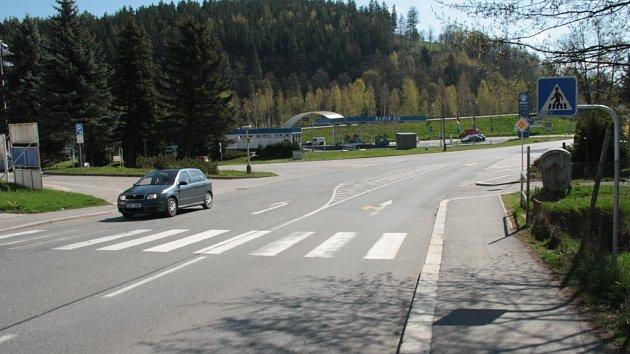 Současná podoba křižovatky Fišerka ve Vimperku.
