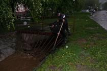 Prachatičtí městští policisté pro jistotu uvolňovali česla Živného potoka.