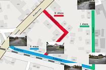 Rozvržení rekonstrukce ulic Tovární a Budějovická ve Volarech do jednotlivých etap.