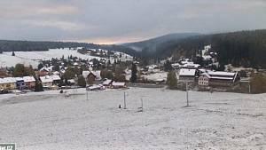 První sníh roku 2021 na Kvildě.