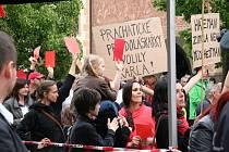 Červené karty pro prezidenta Miloše Zemana na prachatickém Velkém náměstí.