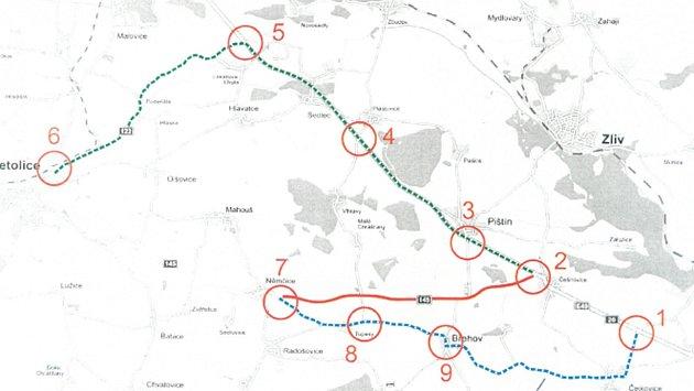 Už vNetolicích (č. 6) budou muset kamiony směřující do Českých Budějovic odbočit na Podeřiště a Novou Hospodu. Odtud se dostanou Češňovic.Osobní auta mohou zNěmčic (č. 7) přes Tupesy (č. 8) a Břehov (č. 9) a napojí se až uobce Dasný (č. 1).