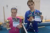 Kamila Neradová (vpravo) vyhrála čtyřhru a skončila druhé ve dvouhře.