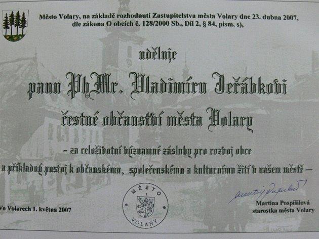 Titul čestného občana Volar