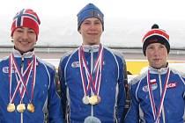 Medailisté - zleva Jiří Mánek, Dominik Klement a Tomáš Kalivoda.