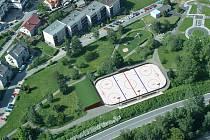 Vizualizace studie možného umístění hokejbalového hřiště v lokalitě Parku mládí