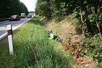 Dopravní nehoda motocyklu na silnici mezi Vitějovicemi a Žernovicemi.