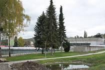 Místo tří smrků už jsou momentálně jen dva. V této části letního sportovního areálu by mělo do konce května vyrůst workoutové hřiště.