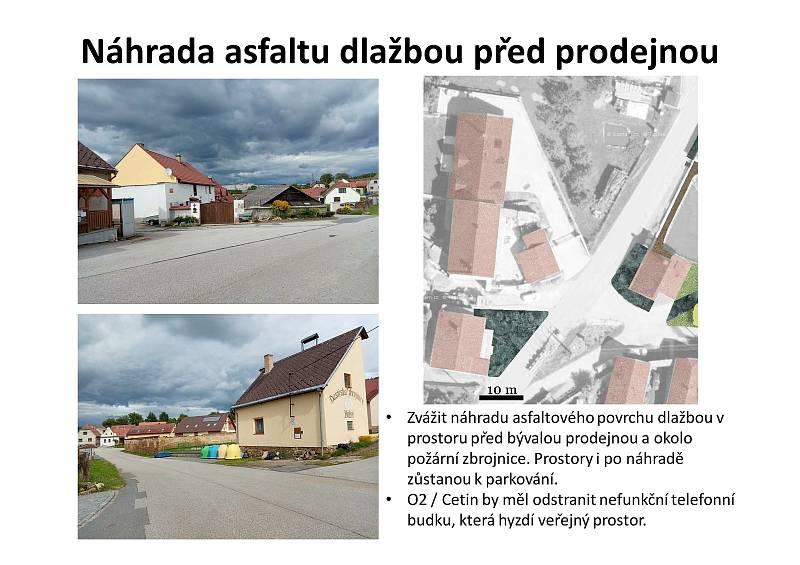 Proměna návsi v Těšovicích už začala. V budoucnu by se mohl střed obce stát místem setkávání místních i turistů.