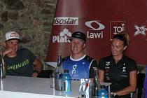 Na tiskové konferenci závodníci trať závodu Xterra Czech 2014 vesměs chválili a vyjádřili před ní respekt.